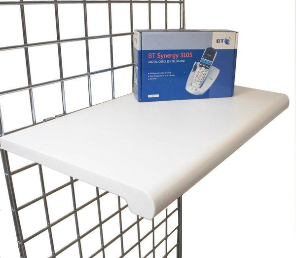 white bullnose shelf for grid panels