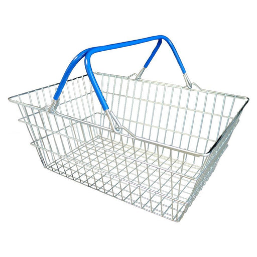 wire shopping basket with blue handles