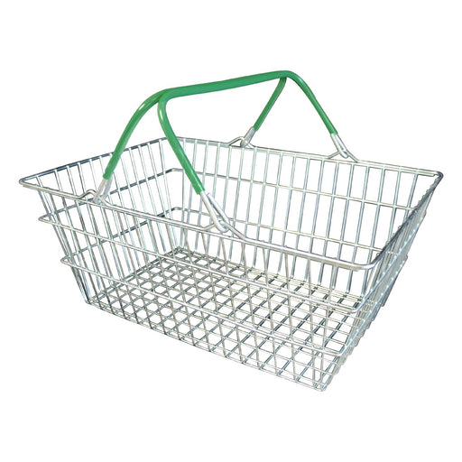 wire shopping basket with green handles