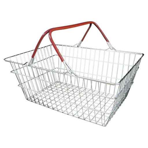 wire shopping basket with red handles