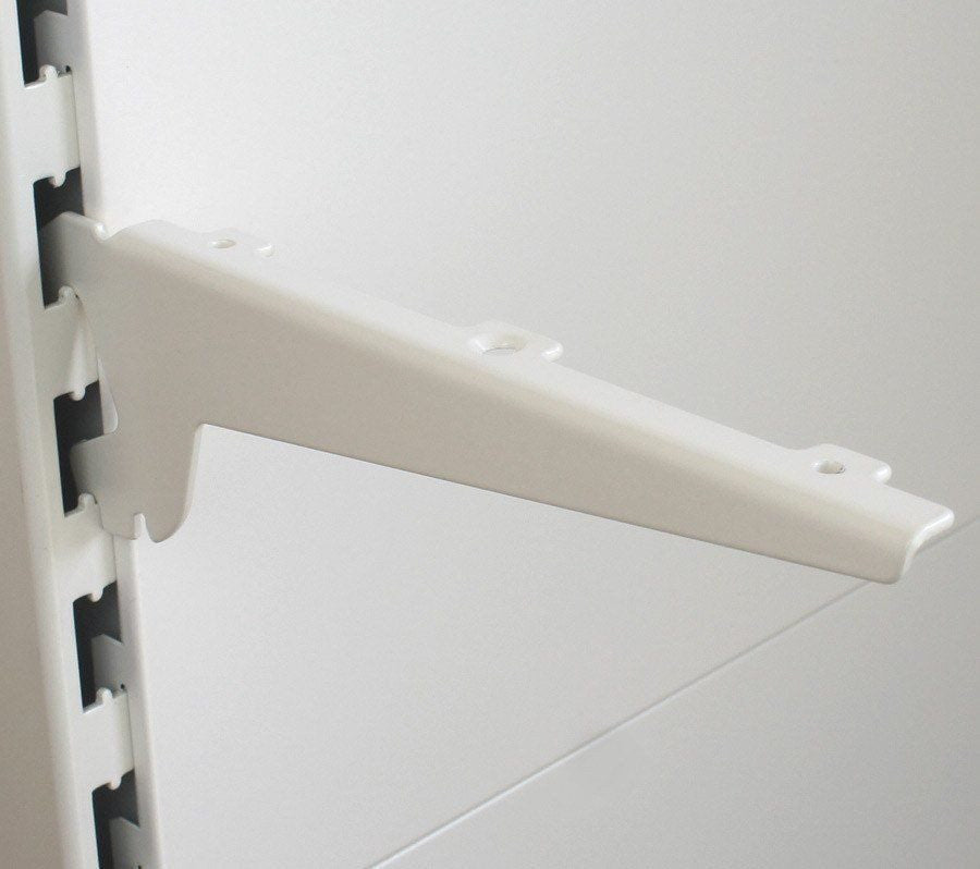 Wood / Glass Shelf Bracket (pair), Ivory White - 17cm to 47cm