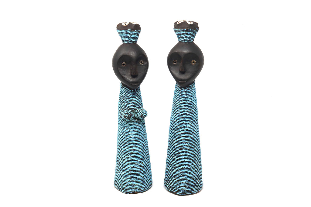Pair of Blue Beaded Namji Dolls