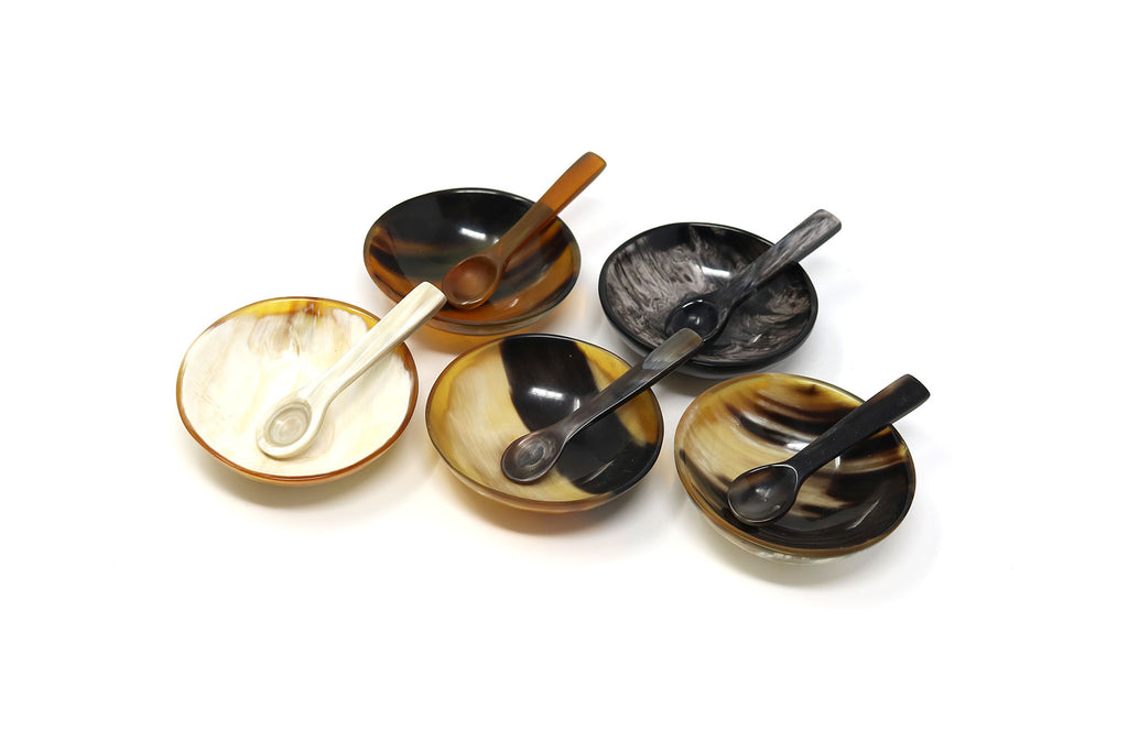 Ankole Cow Horn Salt Bowl and Spoon set