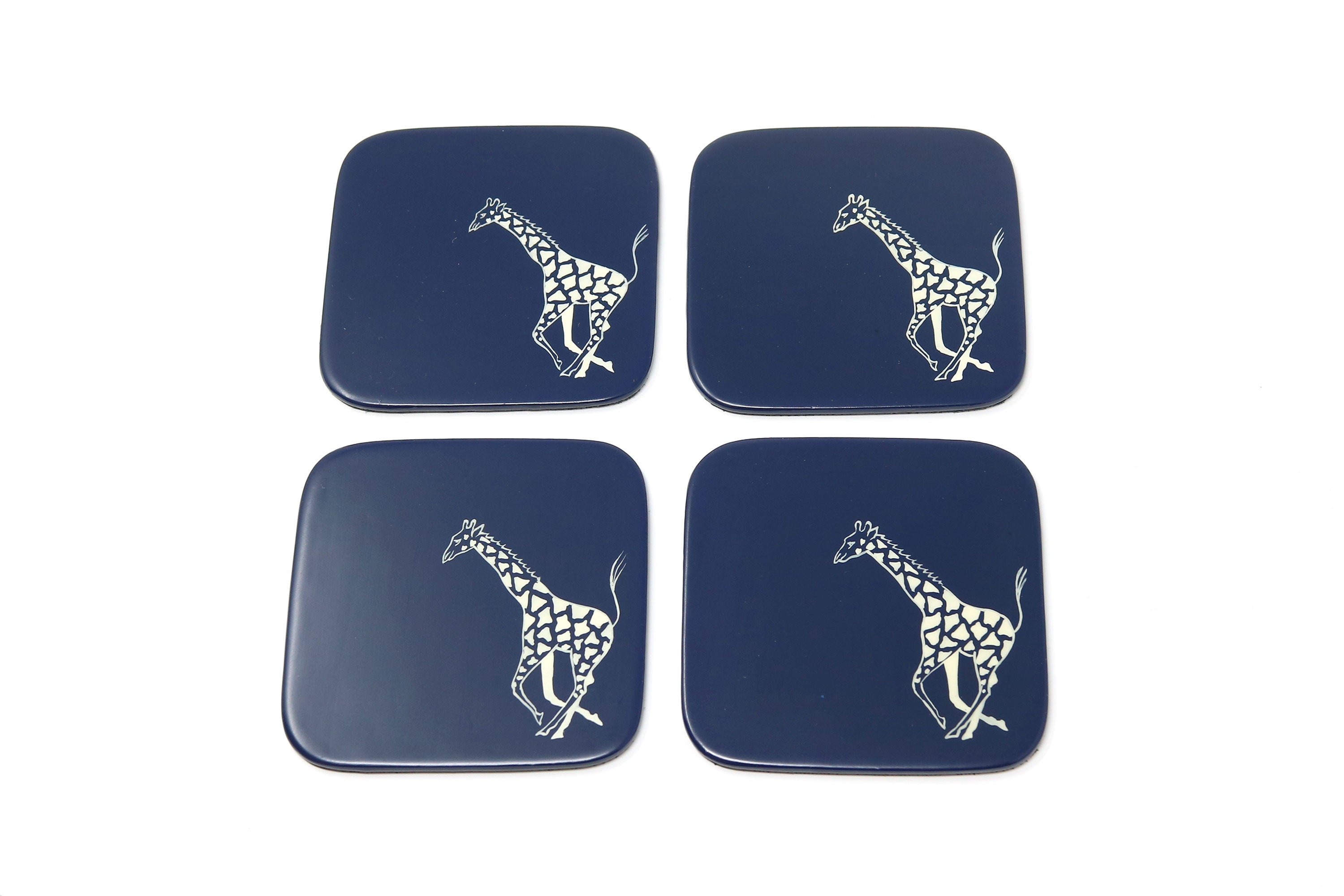Coasters, Running Giraffes on Royal Blue, Set of 4 - ASSiA