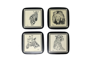 Coasters, Sketched Animals, Set of 4
