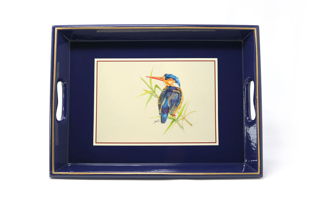 Large Tea Tray, various African bird illustrations - ASSiA