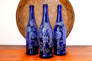Blue Wine Bottles Engraved with Butterflies and Flowers