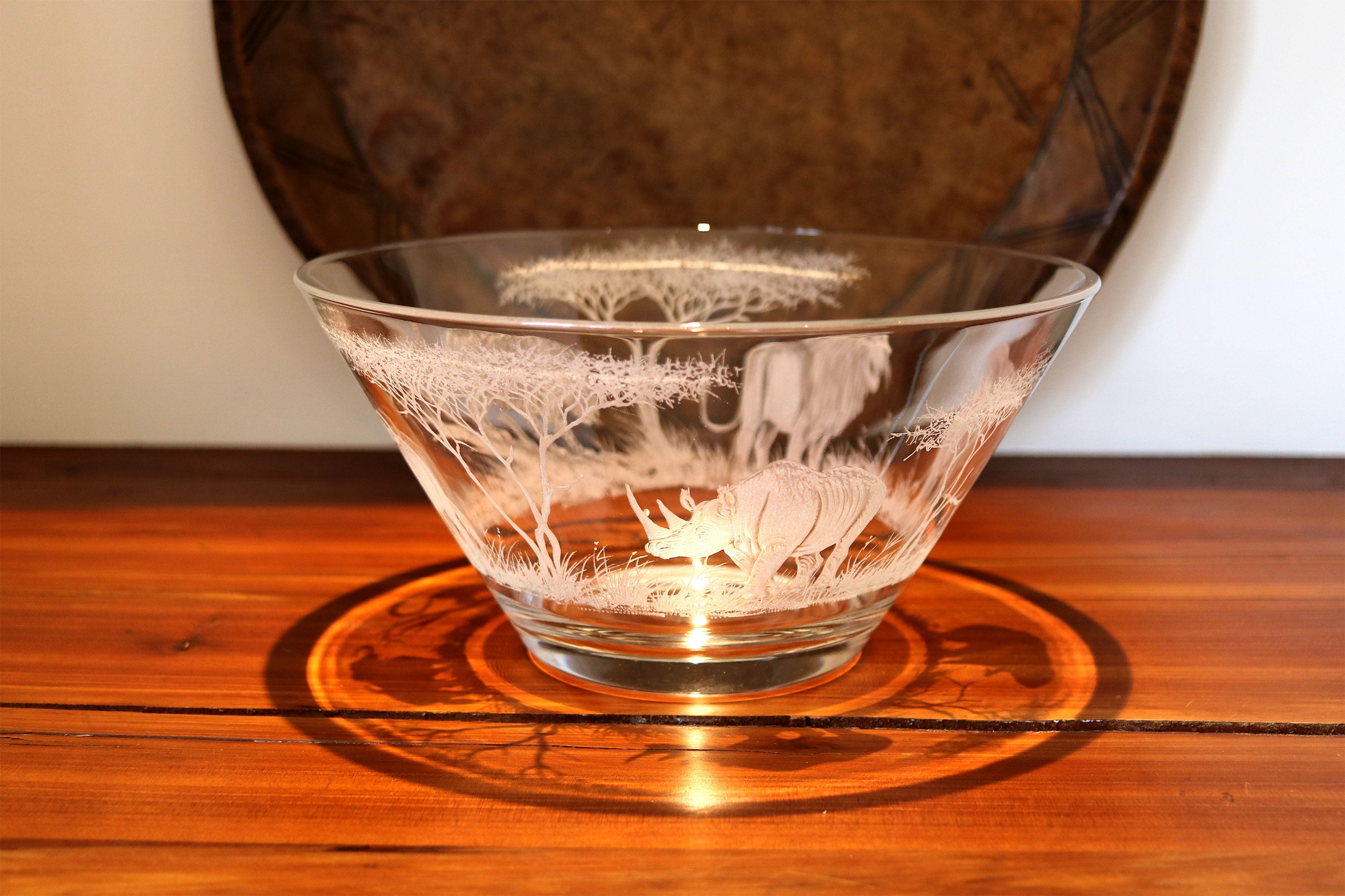 Glass Bowl, Engraved with the Big 5