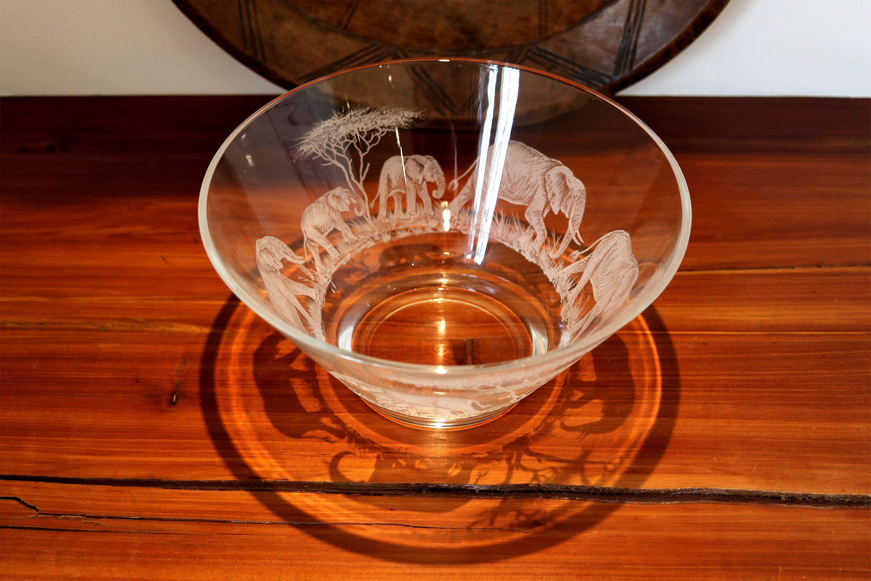 Glass Bowl, Engraved with Elephants