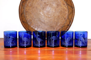 Blue Tumbler Set, Engraved with various African Birds