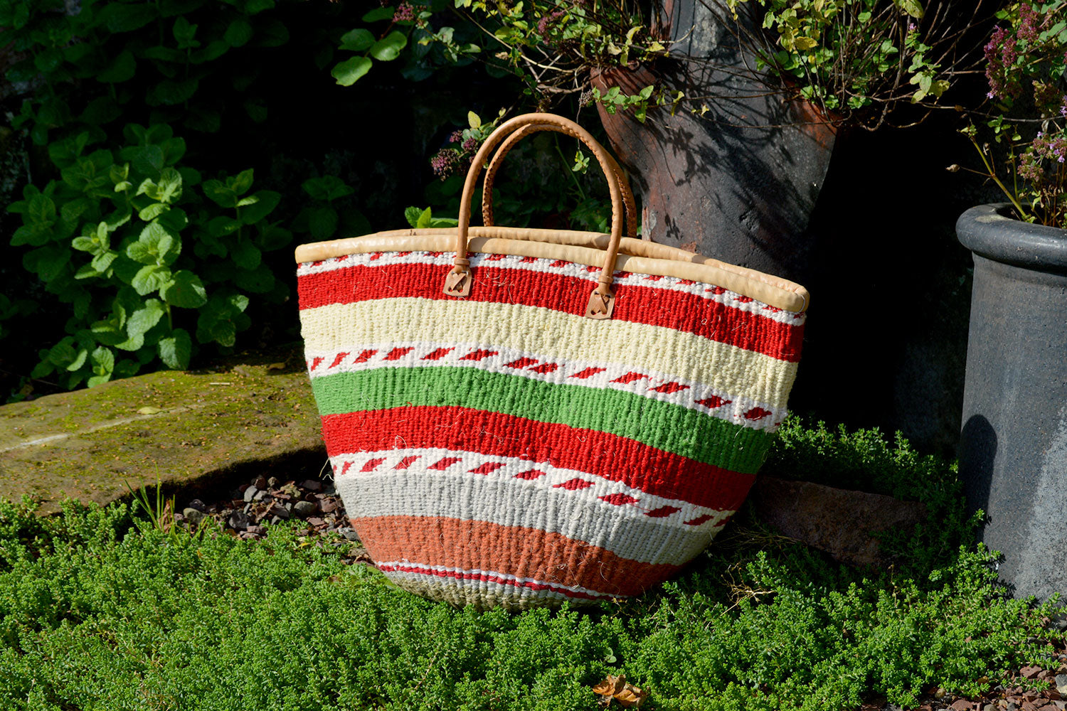 Woollen Kiondo Basket, Cream, Red and Green Stripes - ASSiA