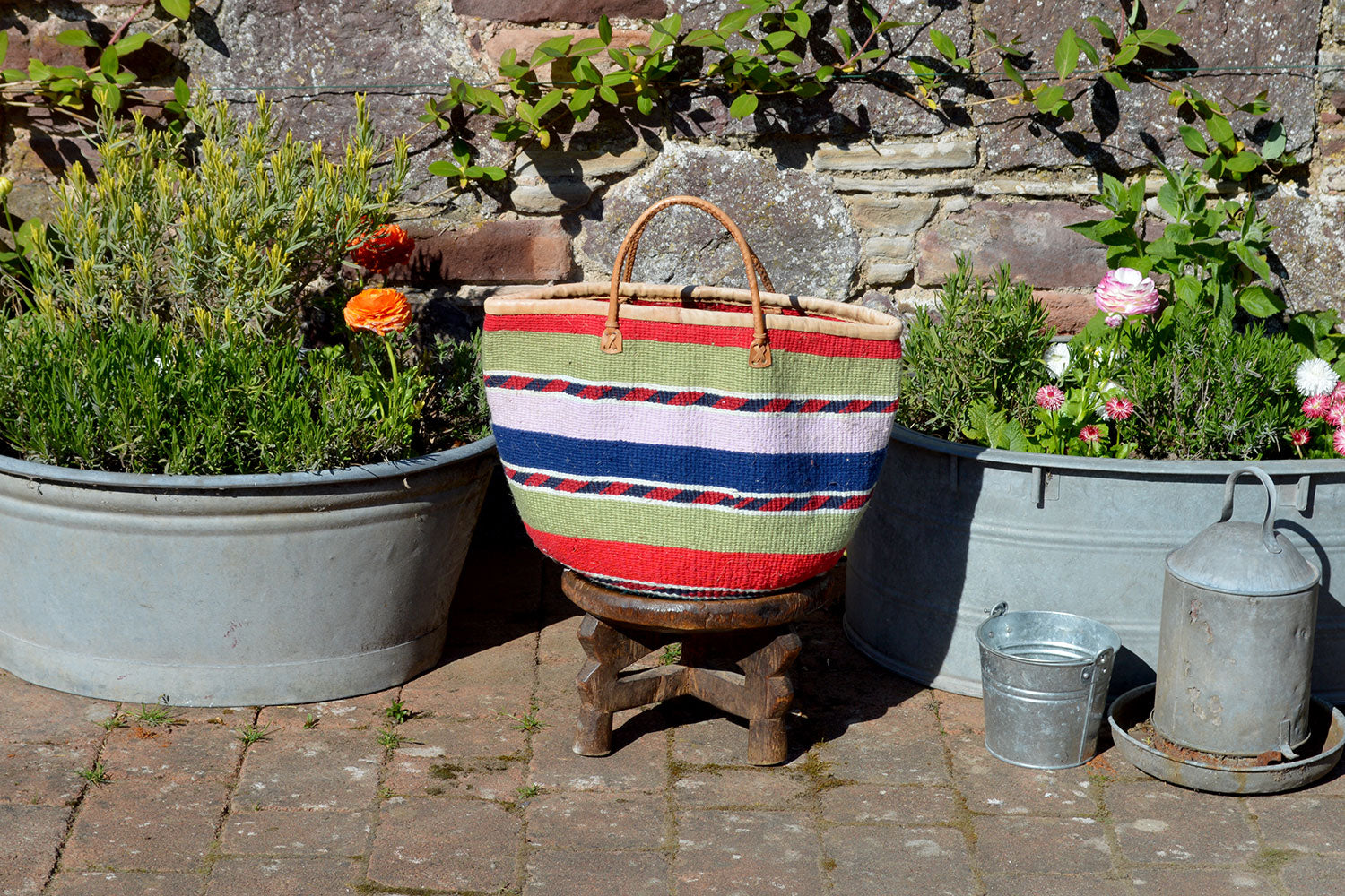 Woollen Kiondo Basket, Red, Green, Lilac and Purple Stripes