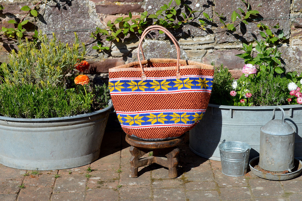 Woollen Kiondo Basket, Yellow Pattern on Blue Stripes