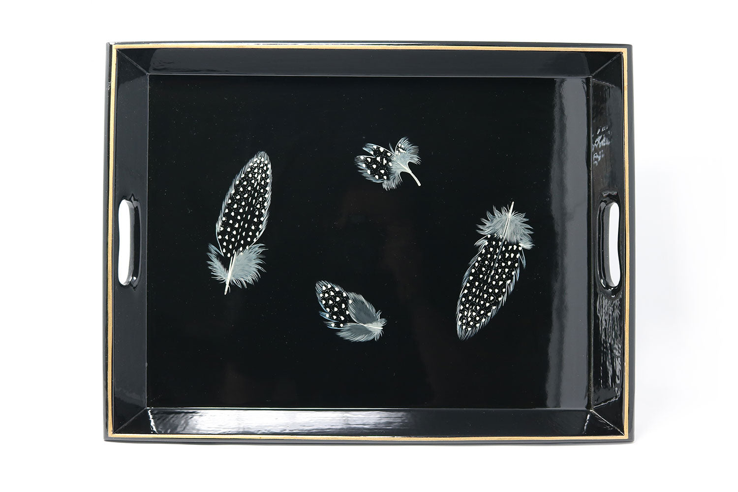 Lap Tray, Guineafowl Feathers on Black