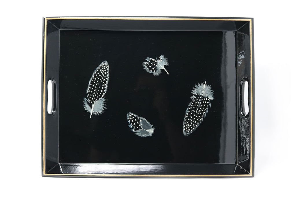 Medium Supper Tray, Guineafowl Feathers on Black - ASSiA