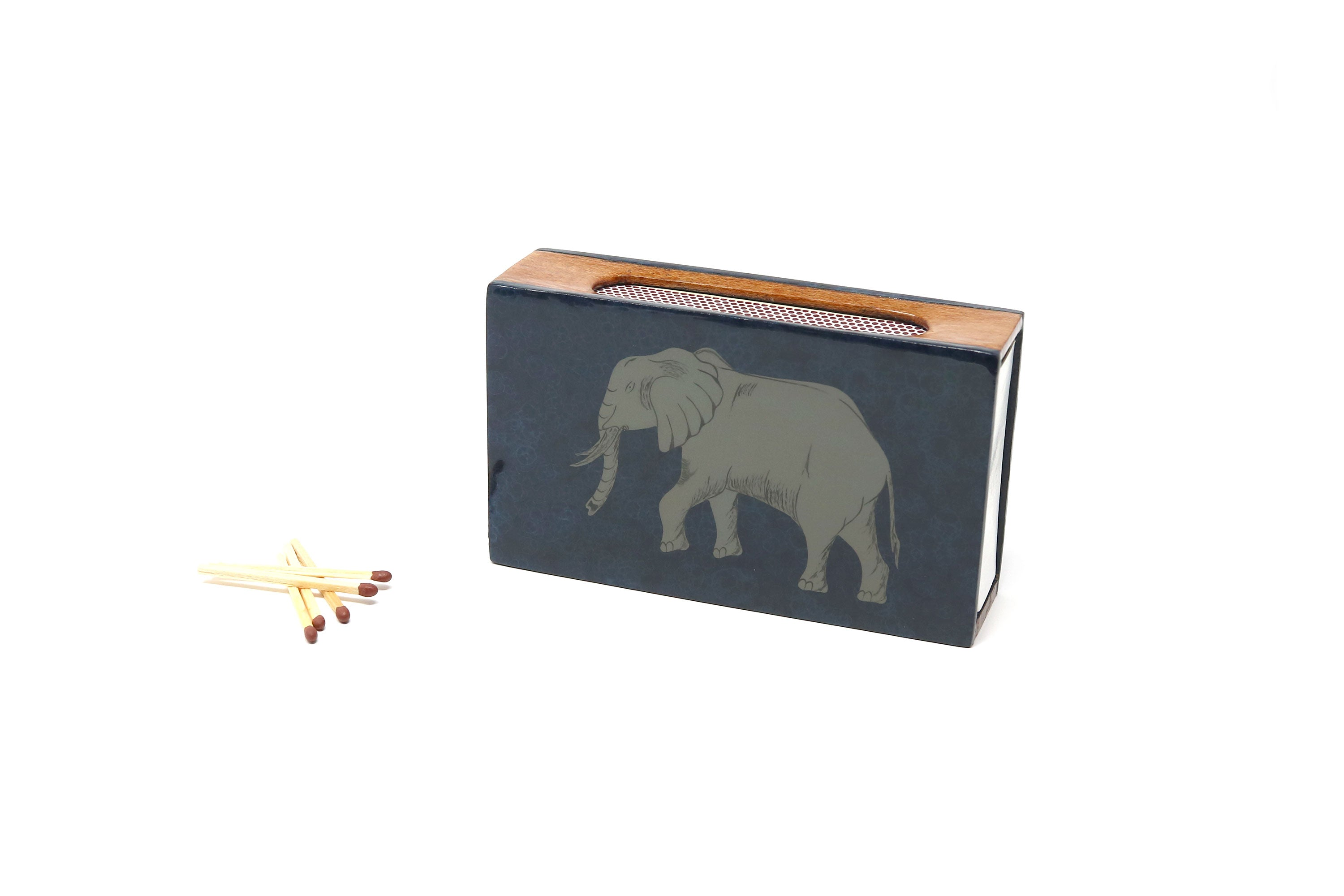 Elephant Matchbox Covers, Cobalt and Navy