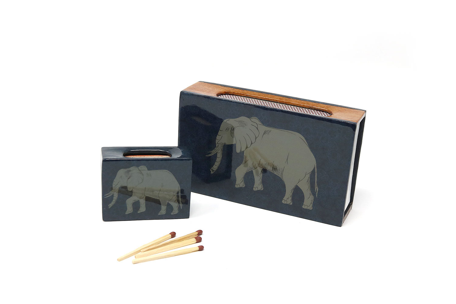 Elephant Matchbox Covers, Cobalt and Navy - ASSiA