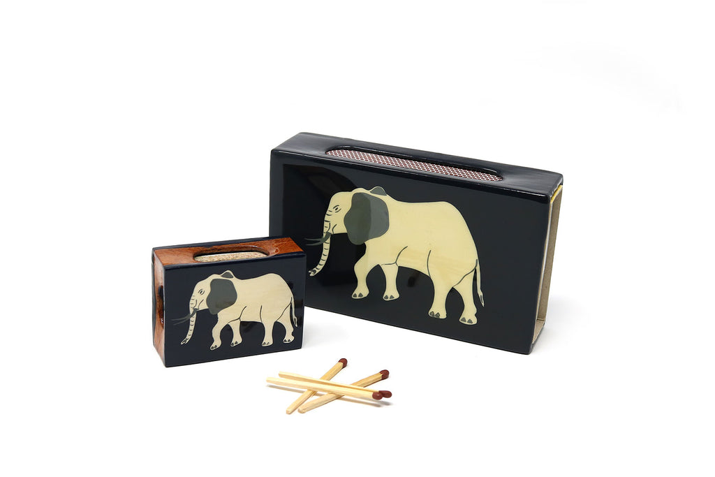 Elephant Matchbox Covers, White on Graphite
