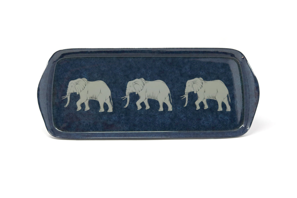 Mug Tray, Elephants on Navy and Cobalt