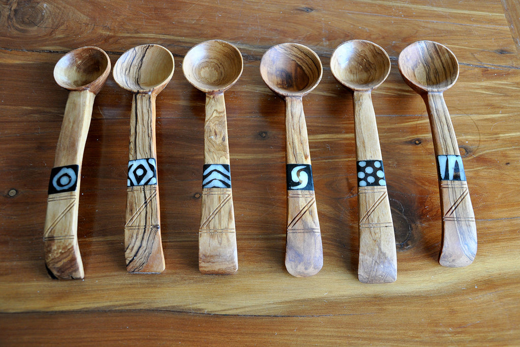 Olive Wood Salad servers with bone inlay