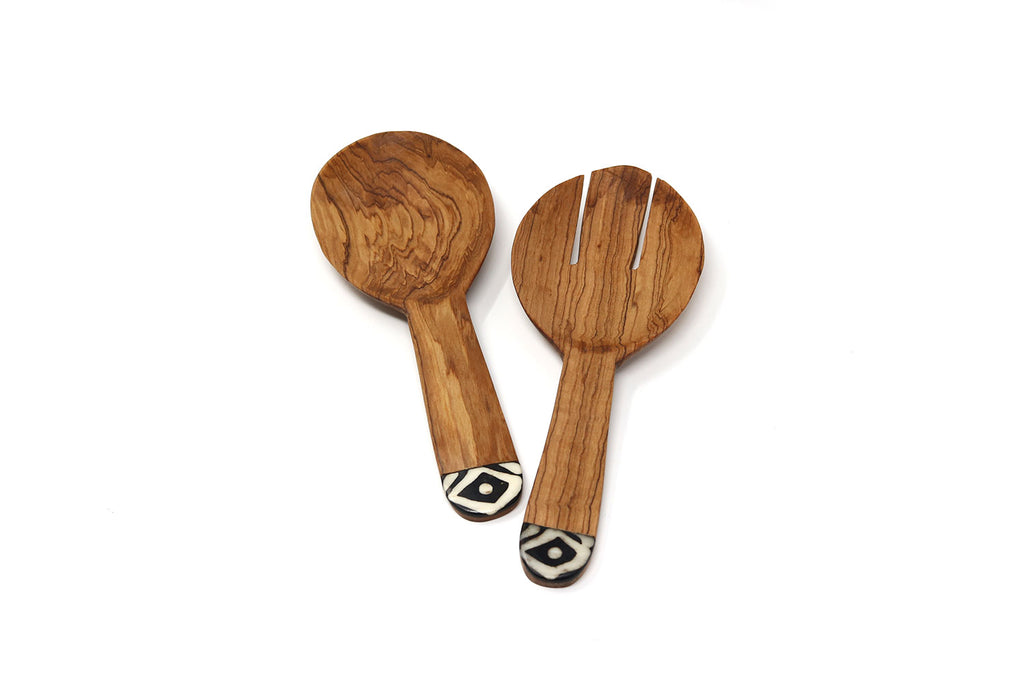 Olive Wood Batik Salad Servers, Chunky