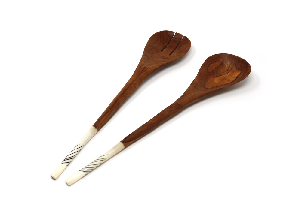 Olive Wood Salad servers with batik bone handles
