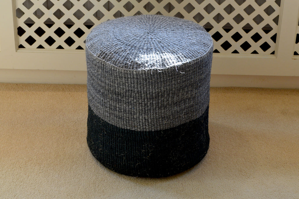Tall Sisal Stool, in Graphite and Black