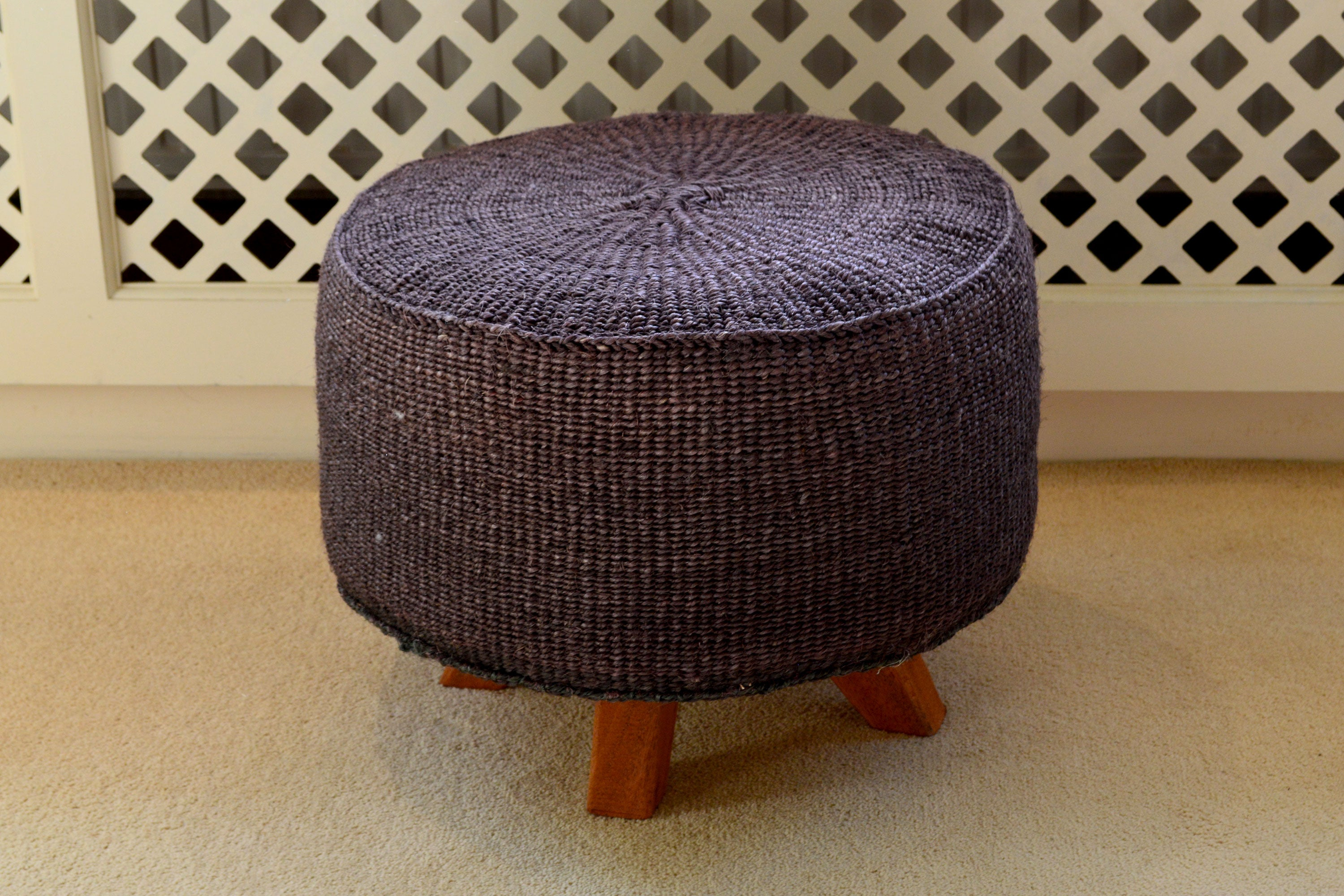 Medium Sisal Stool, in Graphite