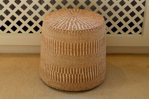 Sisal Stools, Sand and Ivory Stripes, in various sizes