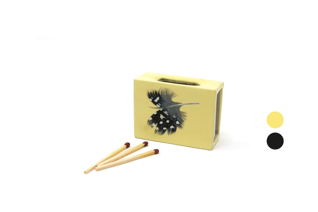 Small Matchbox Cover, Guineafowl Feather, various colours
