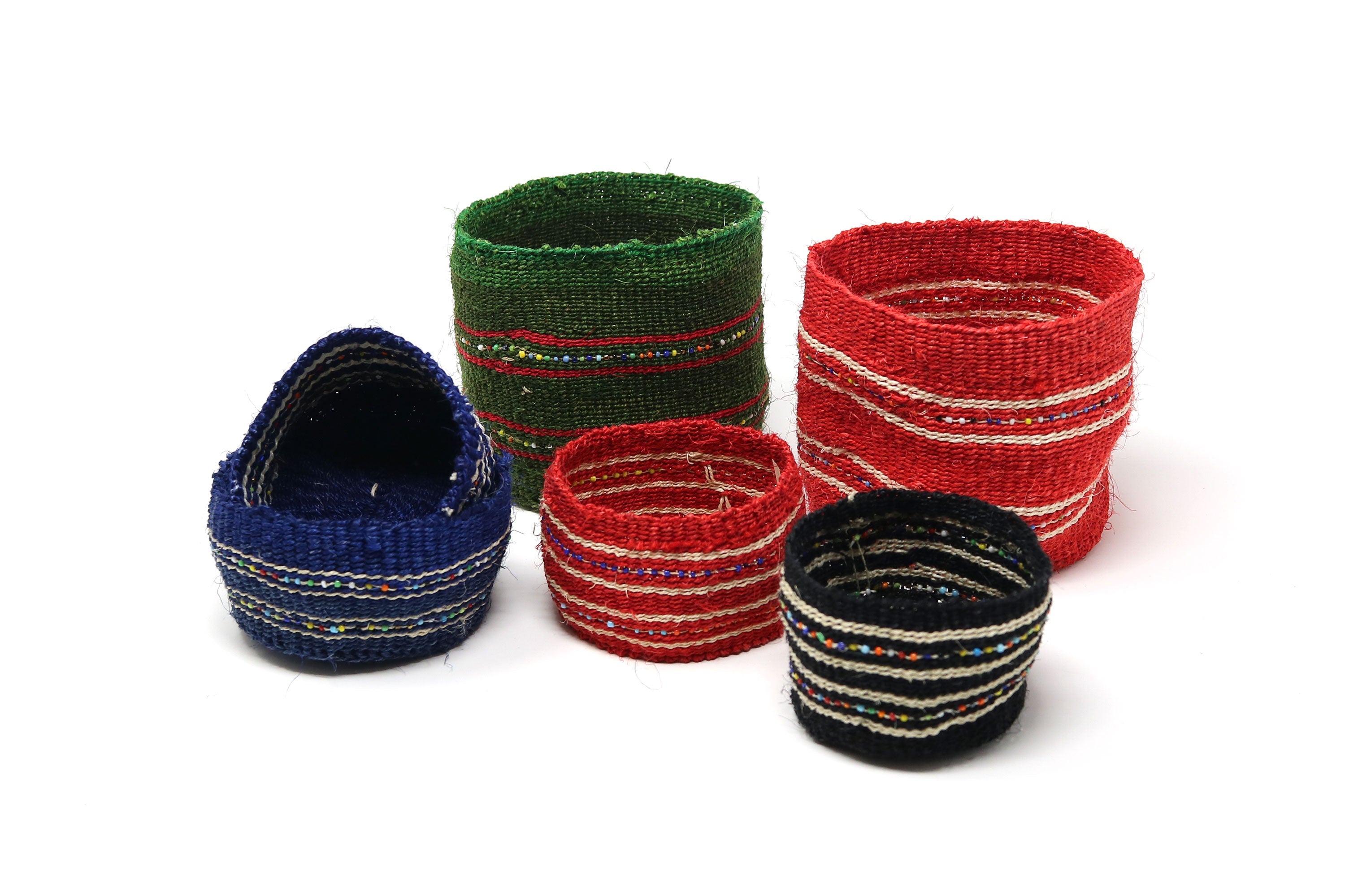 Assorted Fine Sisal Beaded Containers