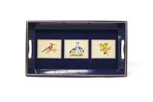 Small Tray, African Birds on Royal Blue