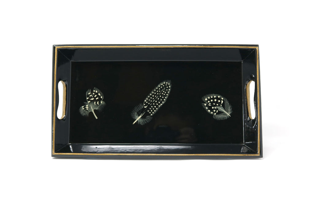 Small Tray, Guineafowl Feathers on Black - ASSiA
