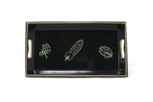 Small Tray, Guineafowl Feathers on Black