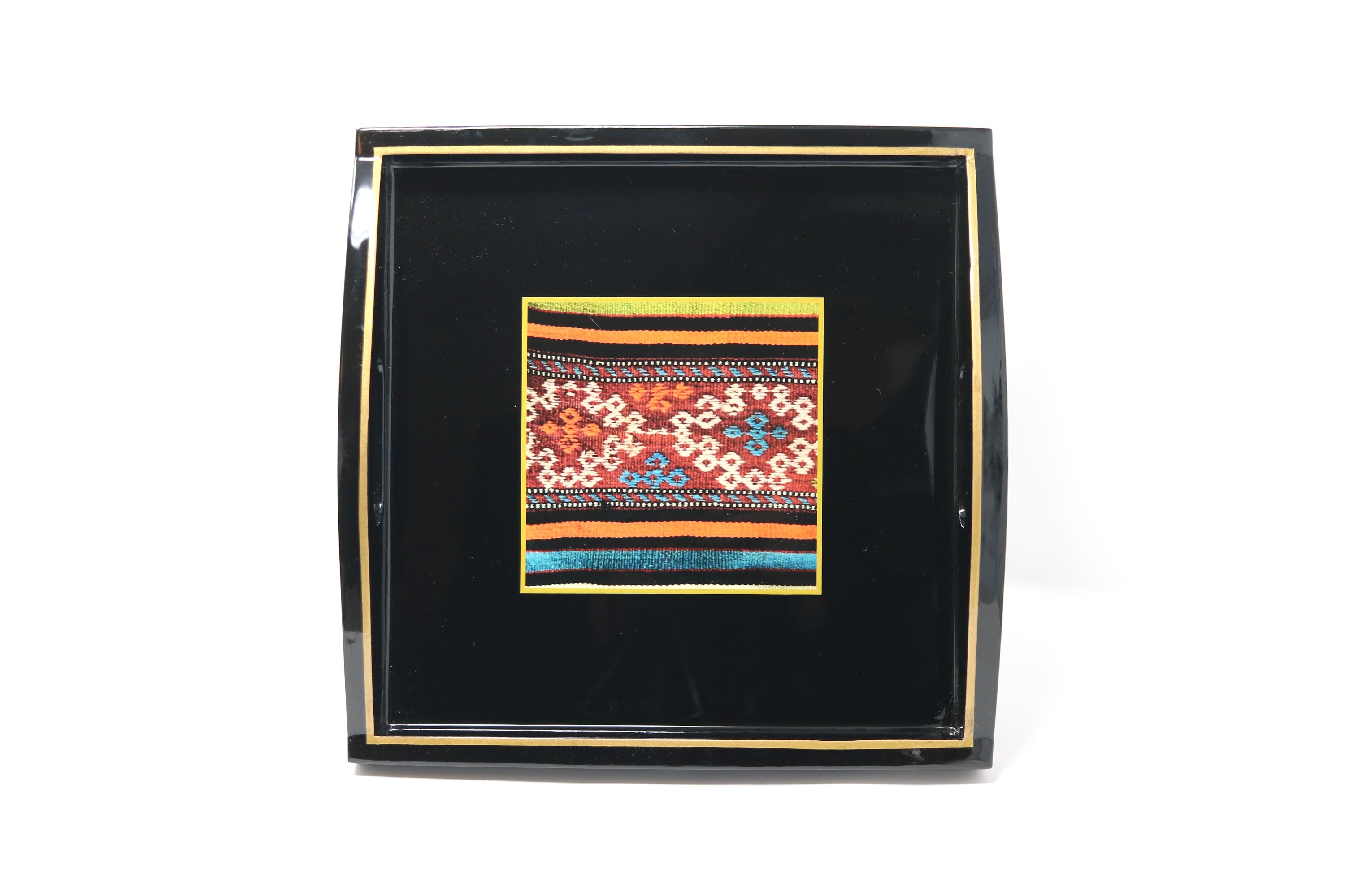 Square Tray, Kilim Print on Black - ASSiA