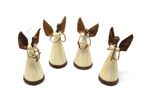 Set of 4 Different Sisal Angel Musicians with Bases