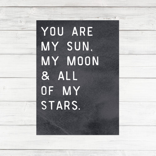 'MY MOON AND MY STARS' POSTCARD