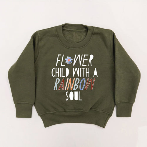 OLIVE FLOWER CHILD ADULT SWEATSHIRT