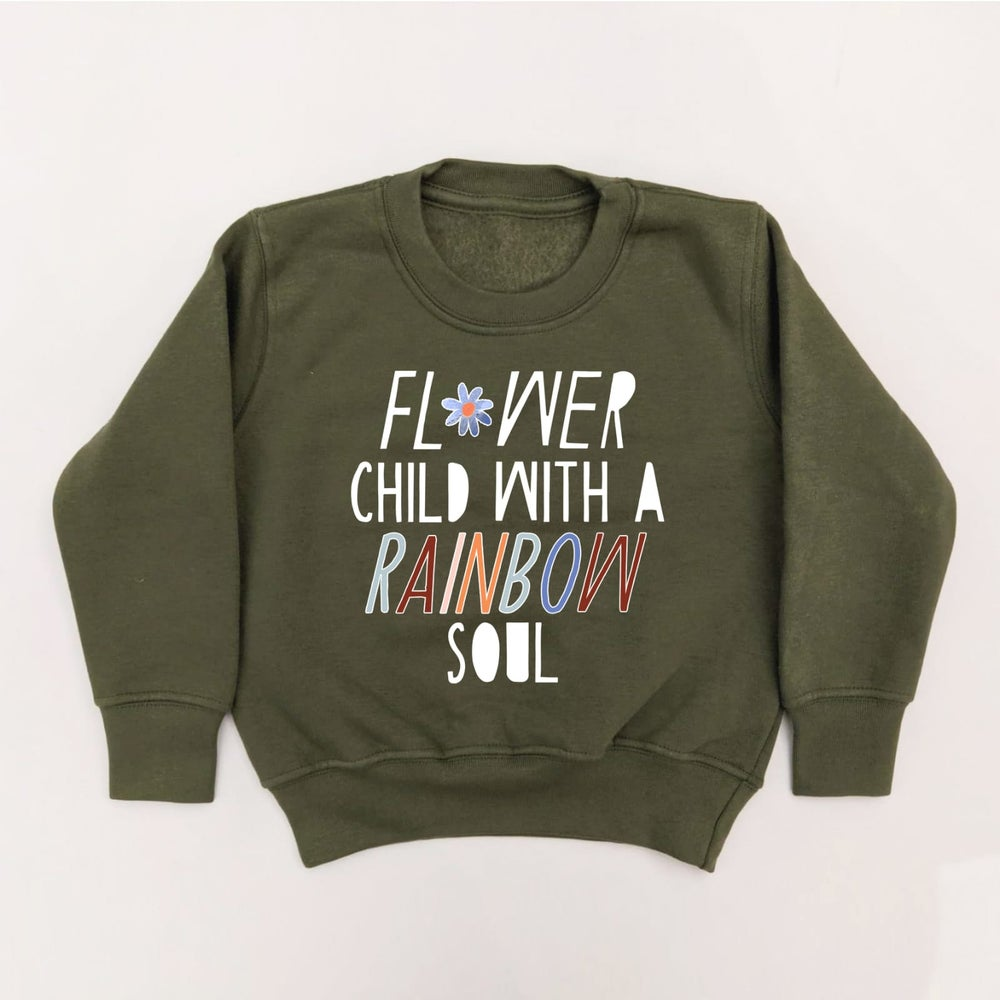 FLOWER CHILD ADULT SWEATSHIRT IN OLIVE