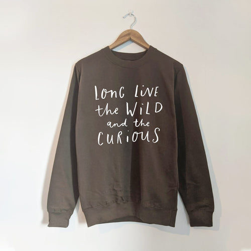 WILD AND CURIOUS ADULT SWEATSHIRT IN OLIVE