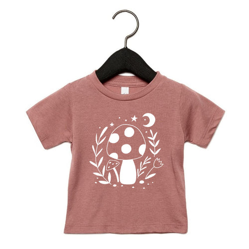 TOADSTOOL PRINT ADULT TEE IN MAUVE