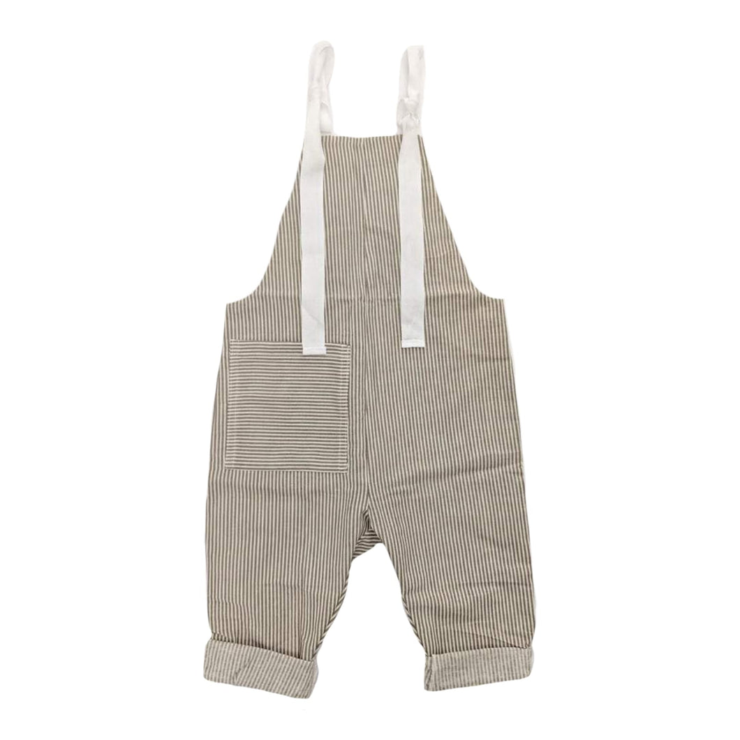 STRIPEY PRINT KIDS DUNGAREES IN STONE