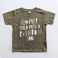 Load image into Gallery viewer, FLOWER CHILD ADULT TEE IN OLIVE