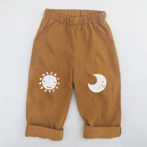SUN AND MOON KNEE PATCH TROUSERS IN MUSTARD