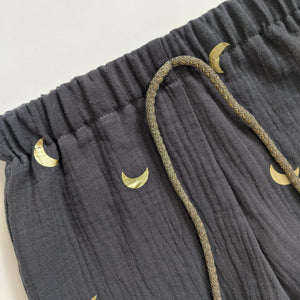 DUSTY BLUE AND GOLD MOON KIDS SHORTS