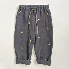 Load image into Gallery viewer, DUSTY BLUE AND GOLD MOON TROUSERS