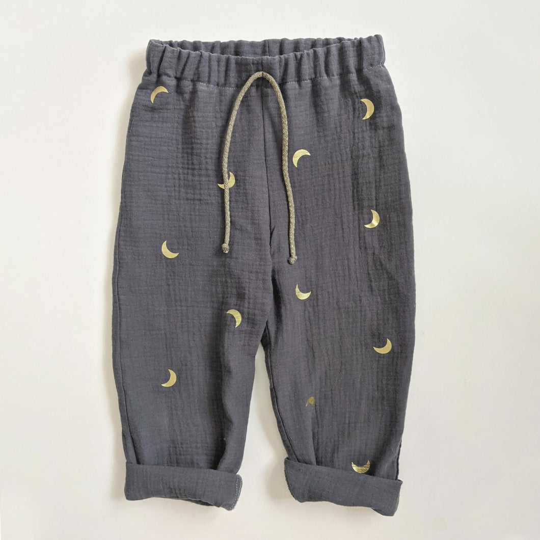 DUSTY BLUE AND GOLD MOON TROUSERS