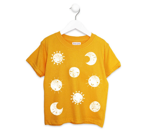 SUN + MOON PRINT KIDS TEE IN YELLOW