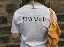 Load image into Gallery viewer, MOON CHILD, STAY WILD ADULT TEE IN WHITE