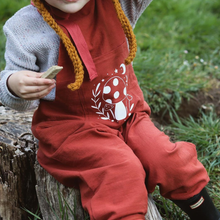 Load image into Gallery viewer, TOADSTOOL PRINT KIDS DUNGAREES IN BRICK